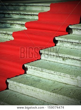 Long Red Carpet On The Stairs At The Vip Fashion Show