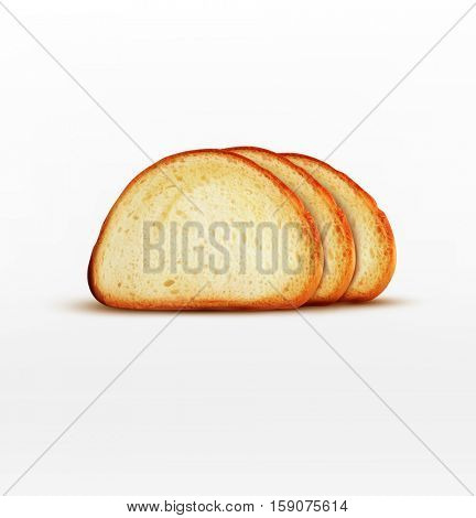 bread. Pieces of long loaf isolated on white background