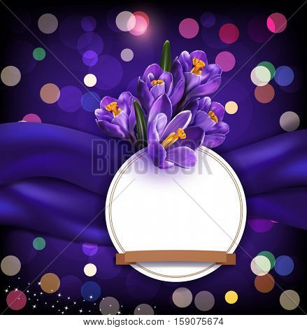 greeting card with blue crocuses, round card and space for text on blue satin background