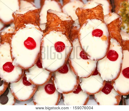Sicilian Pastries Called Cannoli With Pastry Cream For Sale In P