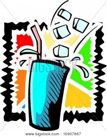 A vector illustration of a cold drink in wax cup with straw.