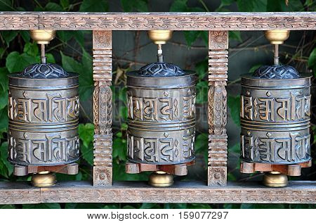 view of the ancient religious Tibetan bells in Nepal