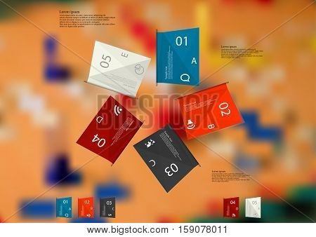 Illustration infographic template. Five folded paper sheets with various colors with sample text simple sign and number. Motif is placed on blurred photo of ludo game with dices.