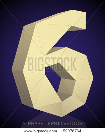 Abstract Yellow 3D polygonal 6 with reflection. Low poly alphabet collection. EPS 10 vector illustration.