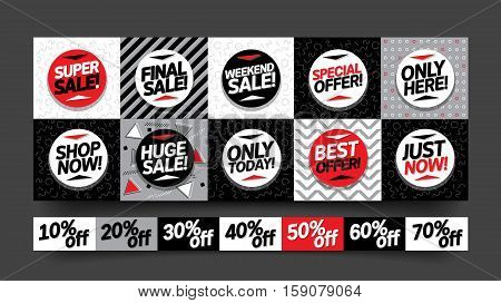 Sale stickers and mobile banners coupon set. Colorful vector illustrations for online shopping, product promotions, website and mobile website badges, ads, print material.