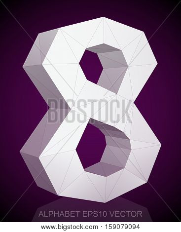Abstract White 3D polygonal 8 with reflection. Low poly alphabet collection. EPS 10 vector illustration.