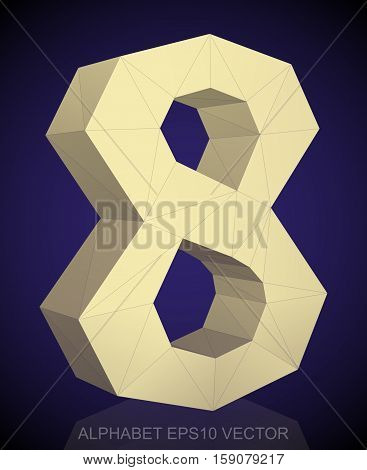 Abstract Yellow 3D polygonal 8 with reflection. Low poly alphabet collection. EPS 10 vector illustration.