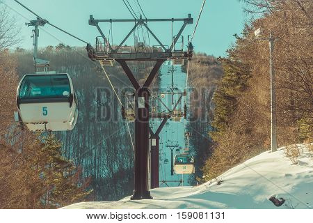 Famous cable way Ski area Nagano Japan