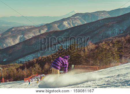 Ski area Nagano Japan. mount fuji .