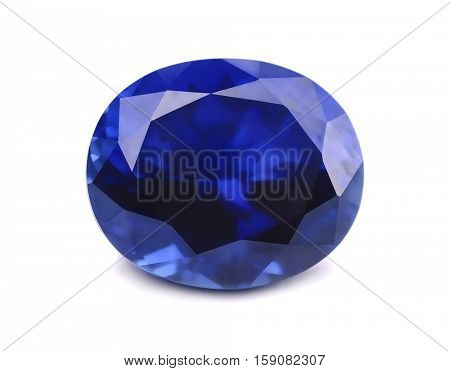 Natural sapphire gemstone isolated on white