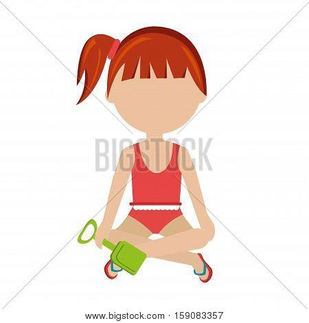 girl with sand bucket shovel toy vector illustration design