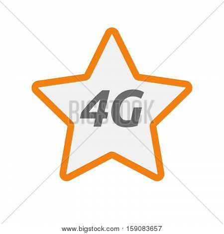Isolated Star Icon With    The Text 4G