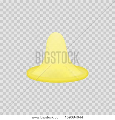 Open latex condom. Realistic 3d illustration. Condom without pack. Rolled-up condom icon or sign isolated. Contraceptive method.