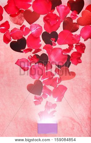 Rose Petals And Hearts Flying Out Of A Gift Box