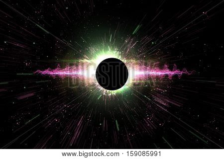 Universe black hole explosion space background 3D Illustration