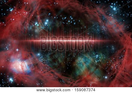 Giant universe starscape 3D illustration with colorful soundwave