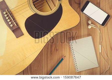 Notebook And Pencil On Guitar, Writing Music.. , Vintage