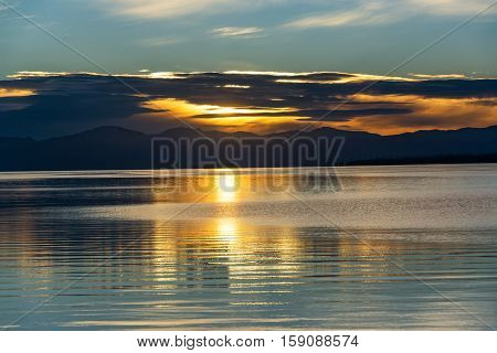 Beautiful Sunrise Over Yellowstone Lake