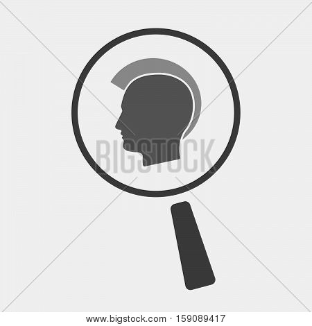 Isolated Magnifier With  A Male Punk Head Silhouette