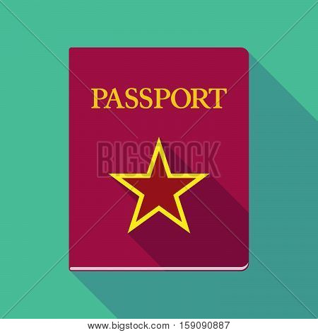 Long Shadow Passport With  The Red Star Of Communism Icon