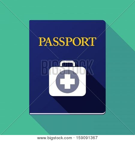 Long Shadow Passport With  A First Aid Kit Icon