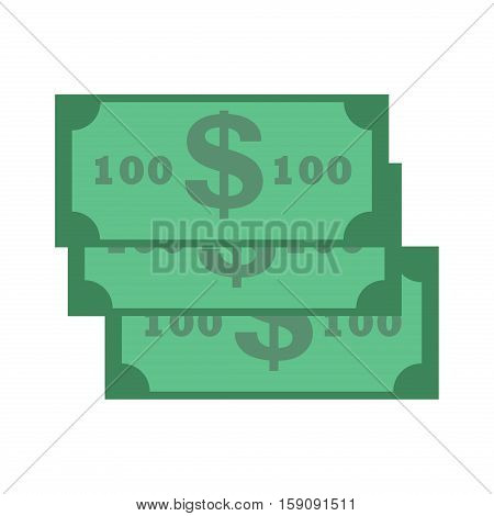 Dollar paper banknote. Stack of wealth banknote dollars isolated on white. Green color paper dollar banknote finance concept. Dollar banknote bill vector business usa banking currency cash symbol.