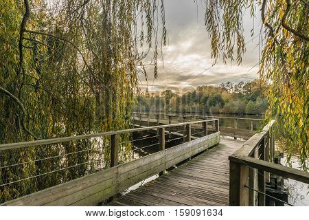 Footbridge on the Erdre river in autumn (Nantes, France)