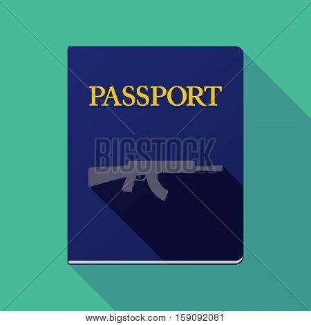 Long Shadow Passport With  A Machine Gun Sign