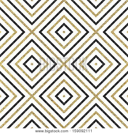 Geometric seamless pattern of gold and black diagonal lines or strokes, abstract background of golden shiny and black rhombus, square, vector for paper, card, invitation, wrapping, textile, web design