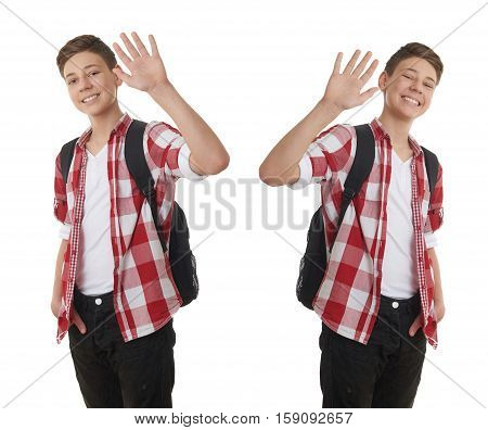 Set of cute teenager boy in red checkered shirt with school bag, waving hand over white isolated background, half body, as school, education concept