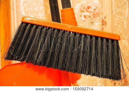 Brush for sweeping the floor. Photographed in close-up