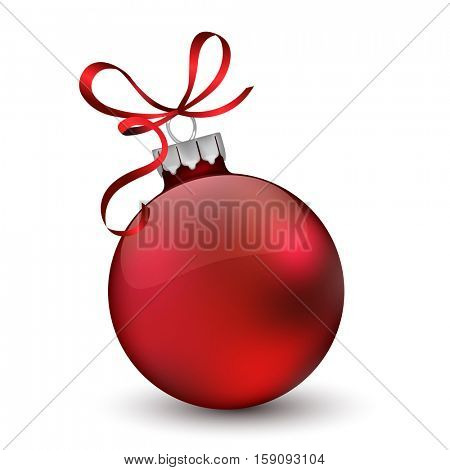 Christmas ornament with red ribbon.