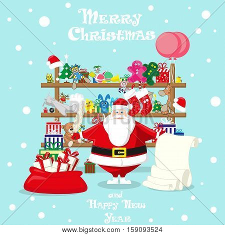Merry Christmas background. Santa shop with cute Santa Claus and gifts toys dolls present box. Concept banner poster flyer greeting card. Cartoon style vector illustration