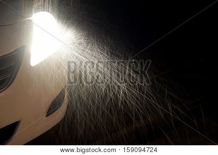 The Rain Affected The Light Car Headlight In The Dark