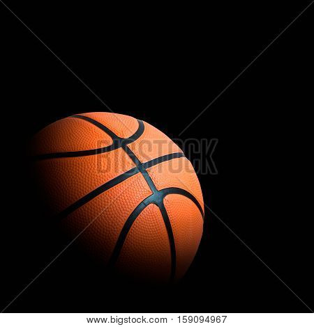 Basketball Association Basket Ball Against Black Background Good Advertising Concept With Space For