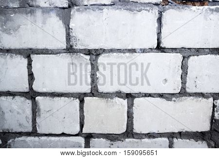 close-up wall of the white bricks texture