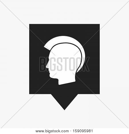 Isolated Tooltip With  A Male Punk Head Silhouette