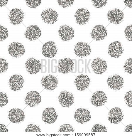 Silver polka dots seamless pattern, hand painted abstract background of silvery circle, vector design for flyer, wedding card, invitation, holiday, wrapping, textile, web design