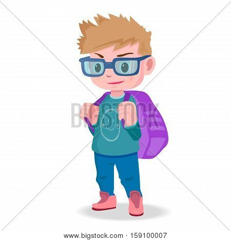 smiling schoolboy with a backpack ready to go to school. vector illustration