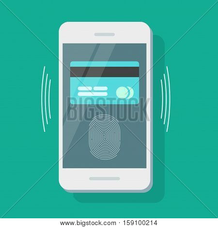 Payment security vector illustration, flat style mobile phone with credit card protected with fingerprint identity scan, smartphone pay protection concept isolated on color background
