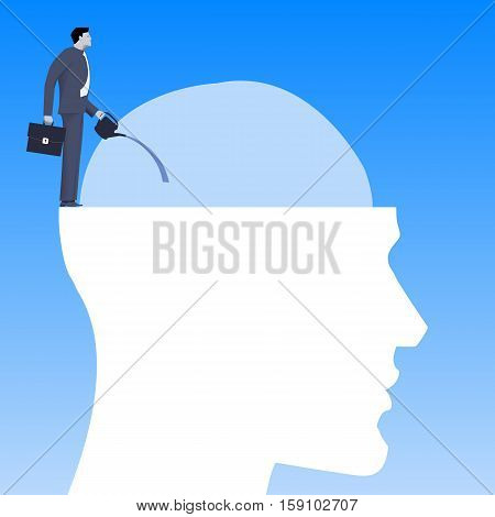 Motivation business concept. Business man in suit watering human brain with dollar bills instead of leaves. Concept strategy motivation manipulation.