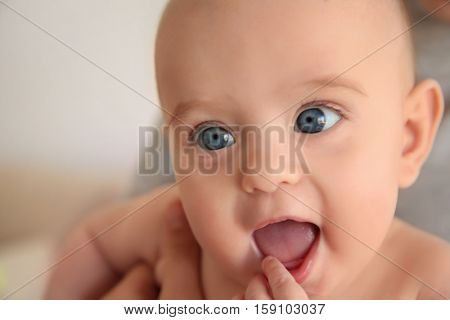 Close up view of cute curious baby