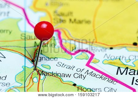 Mackinaw City pinned on a map of Michigan, USA