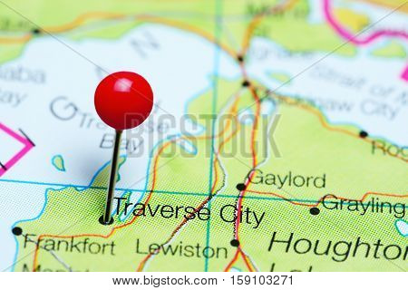Traverse City pinned on a map of Michigan, USA