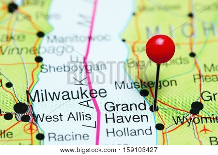 Grand Haven pinned on a map of Michigan, USA