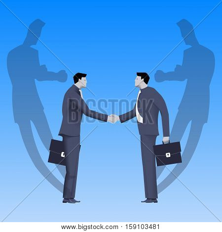 Tough negotiations business concept. Confident businessmen standing opposite each other and shaking each other hands but their shadows are ready to fight.