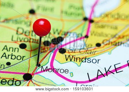 Monroe pinned on a map of Michigan, USA