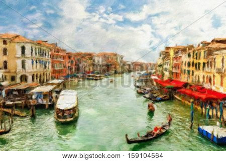Boats and gondolas on the Grand Canal of Venice.  Oil painting effect.