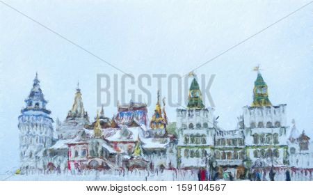Beautiful view of kremlin in Izmailovo in winter snow , Moscow, Russia. Oil painting effect.