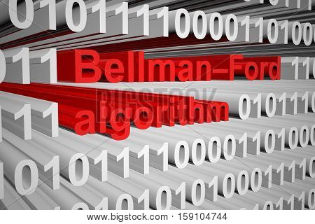 Bellman Ford algorithm in the form of binary code, 3D illustration
